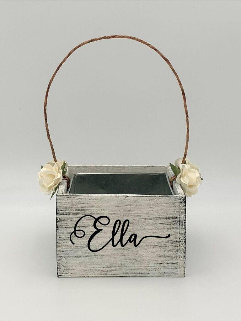 personalized wooden flower girl basket
