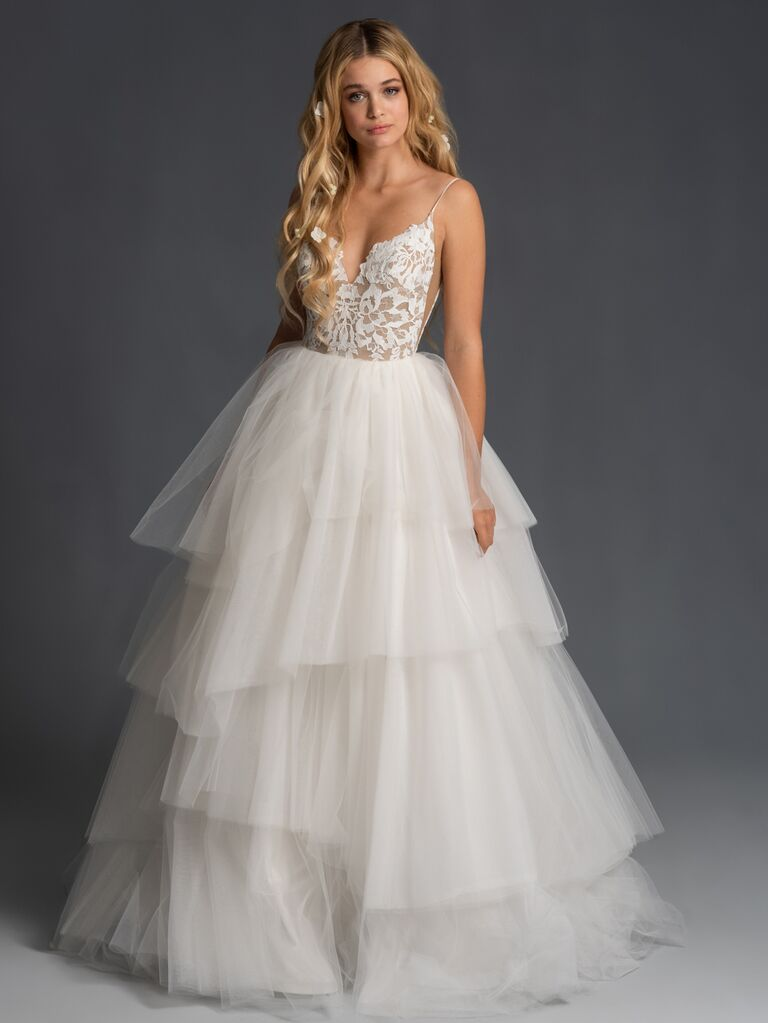 Blush by Hayley Paige Fall 2019 ball gown wedding dress with lace bodice and tiered tulle skirt