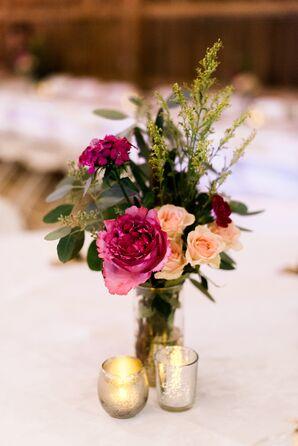 Fuchsia Rose and Wildflower Centerpiece