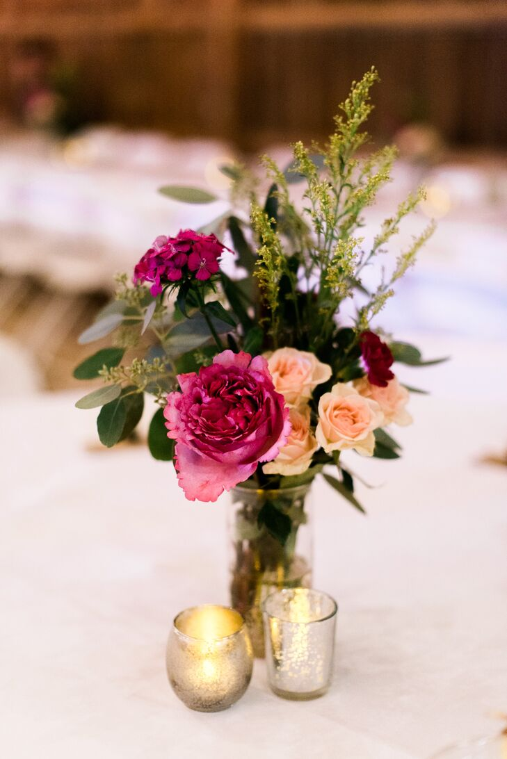 Fuchsia Rose and Wildflower Centerpiece