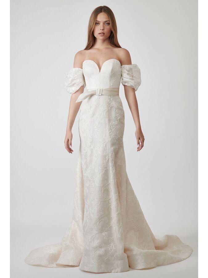Lihi Hod Couture off-the-shoulder embroidered satin wedding dress