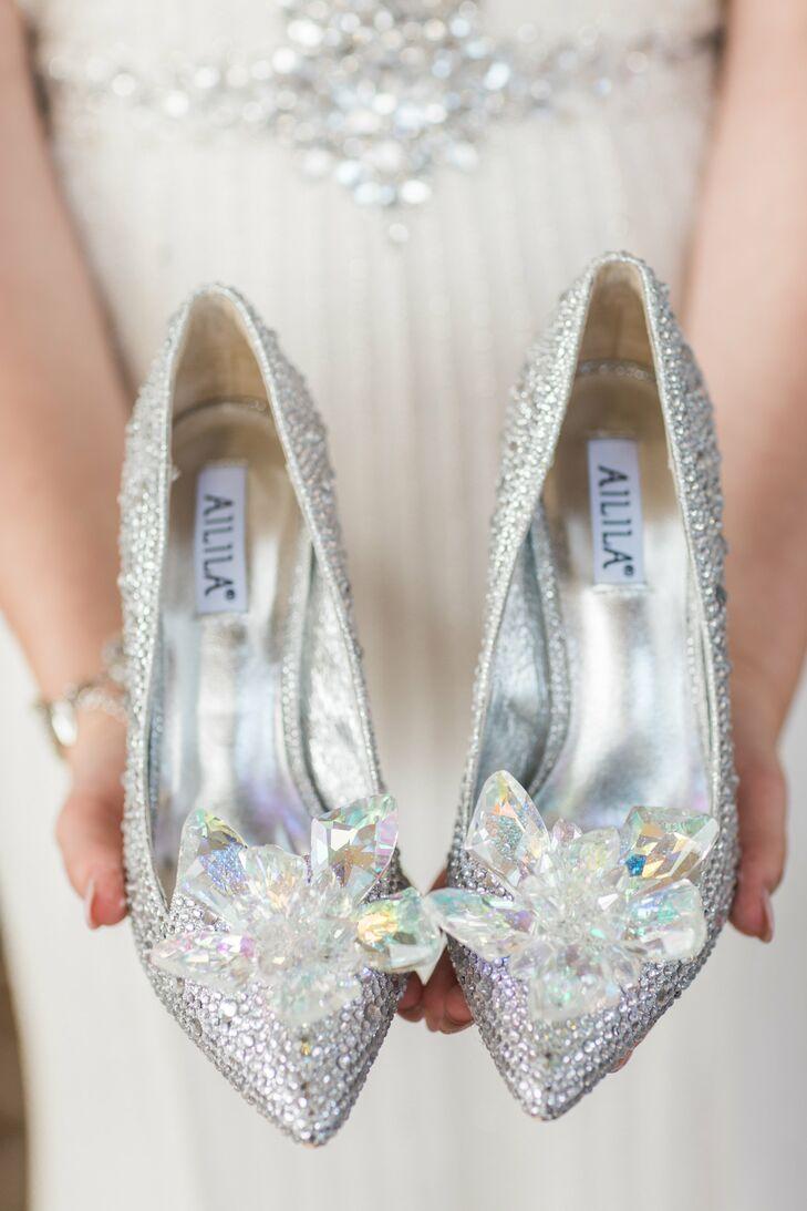 Cinderella Inspired Silver Wedding Shoes