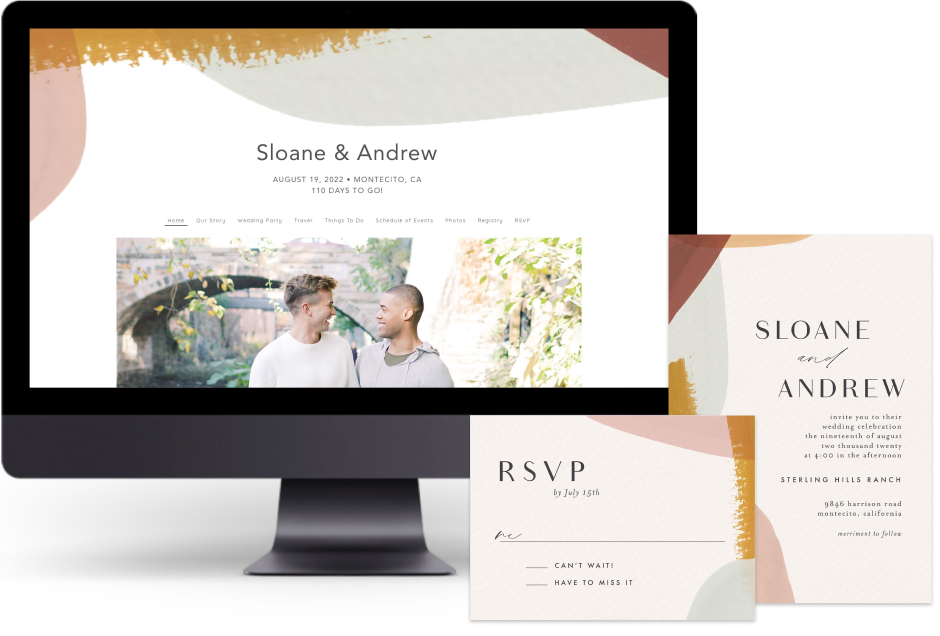 Gold Abstract Watercolor wedding website design with matching paper suite