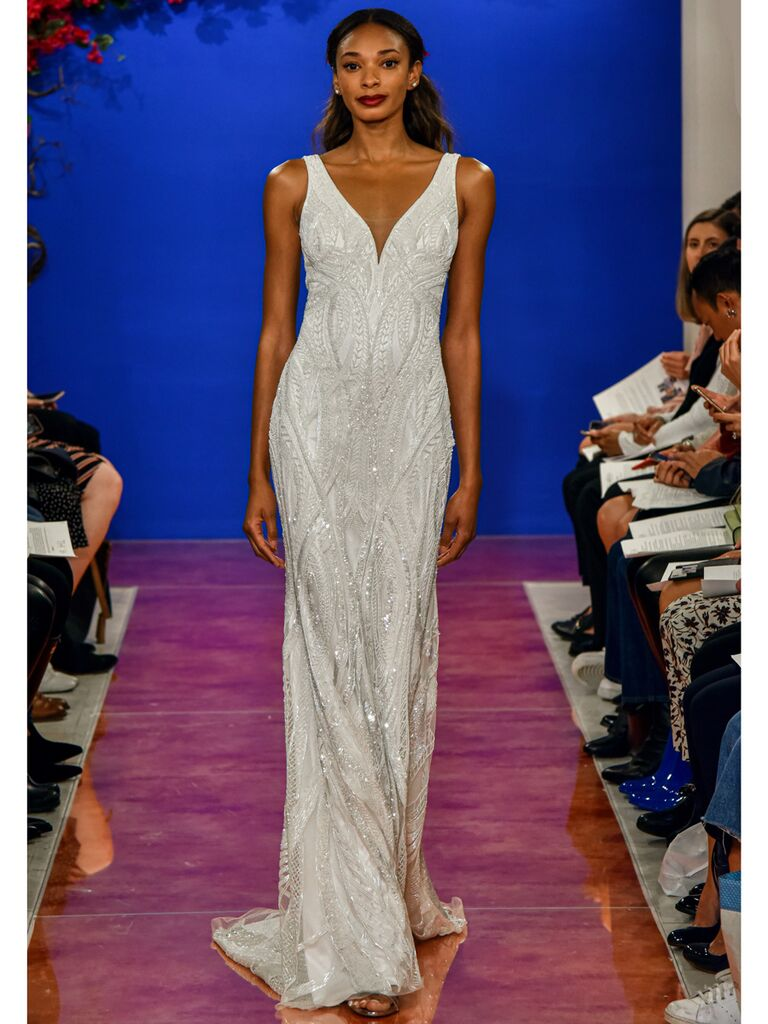 theia wedding dress beaded sheath dress