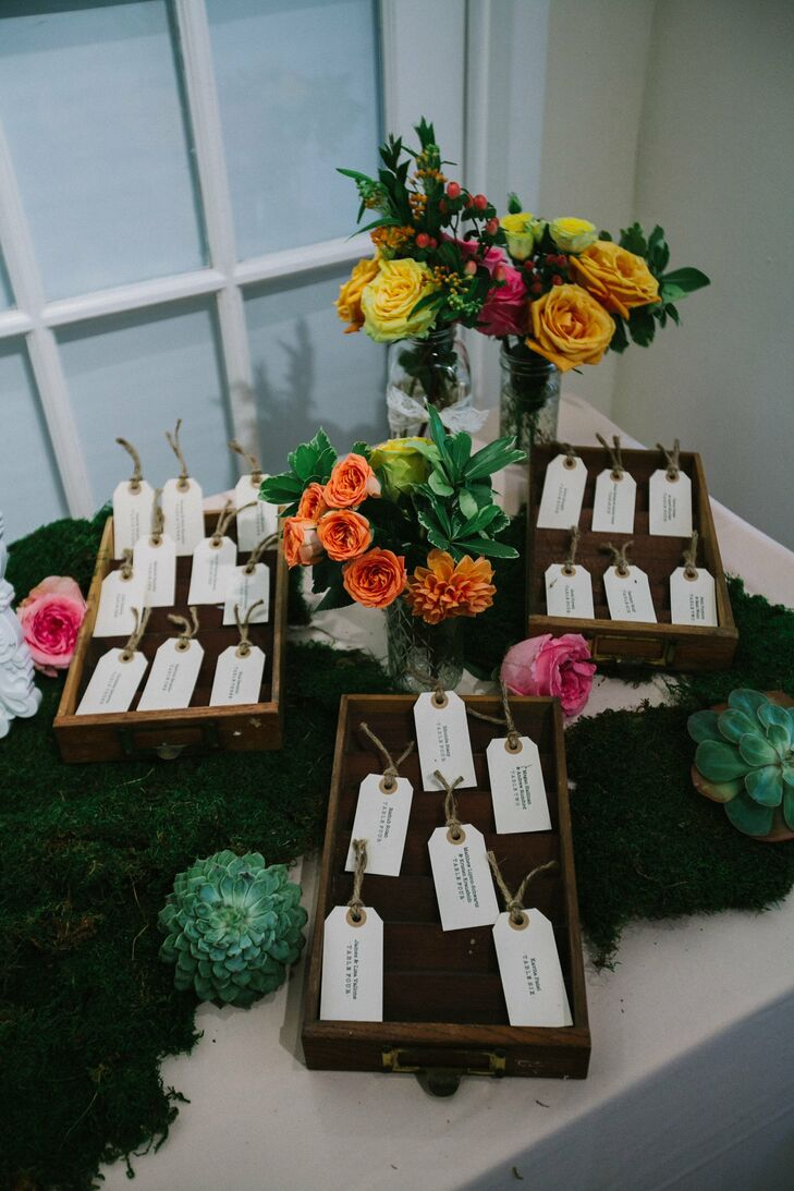 After finding some DIY inspiration, Krista decide to make her own escort cards with a luggage-tag look.