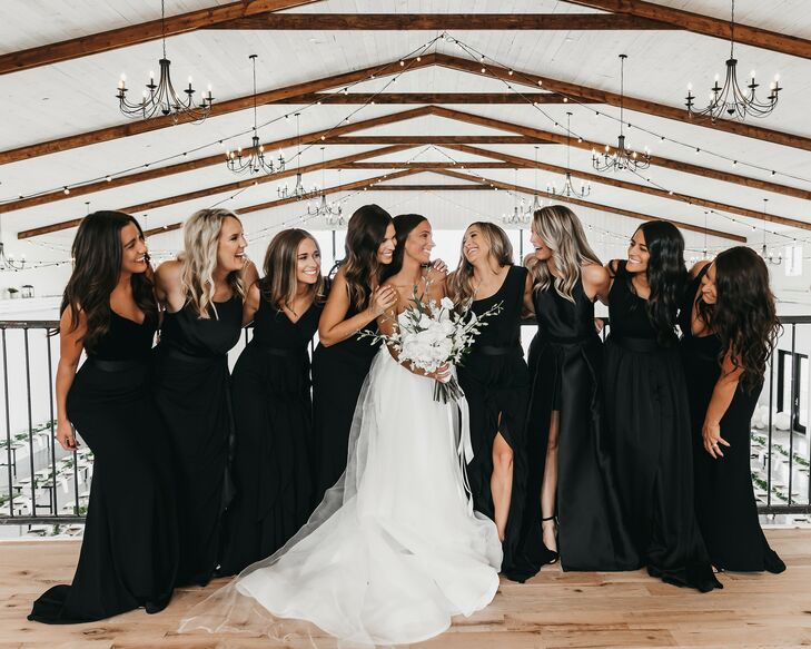 Modern Bridesmaids with Long Black Dresses