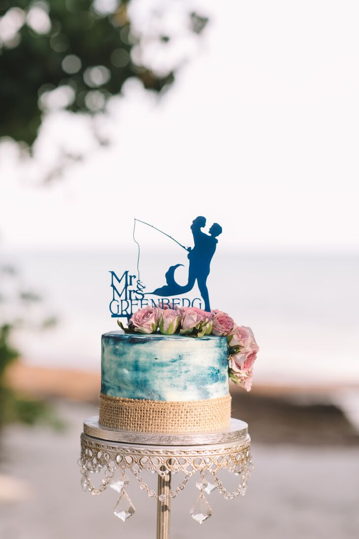 Beach-Themed Hand-Painted Cake