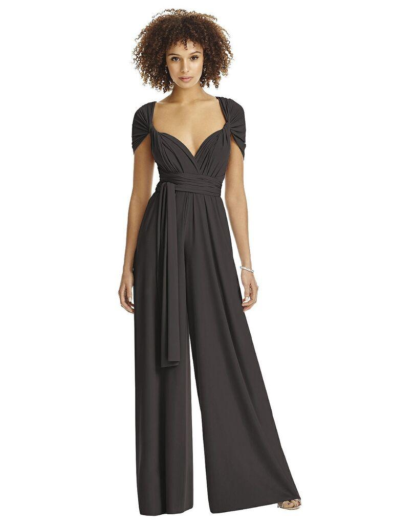 Dark gray bridesmaid jumpsuit