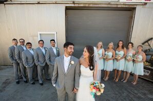 Gray Suits and Tiffany Blue Bridesmaid Dresses