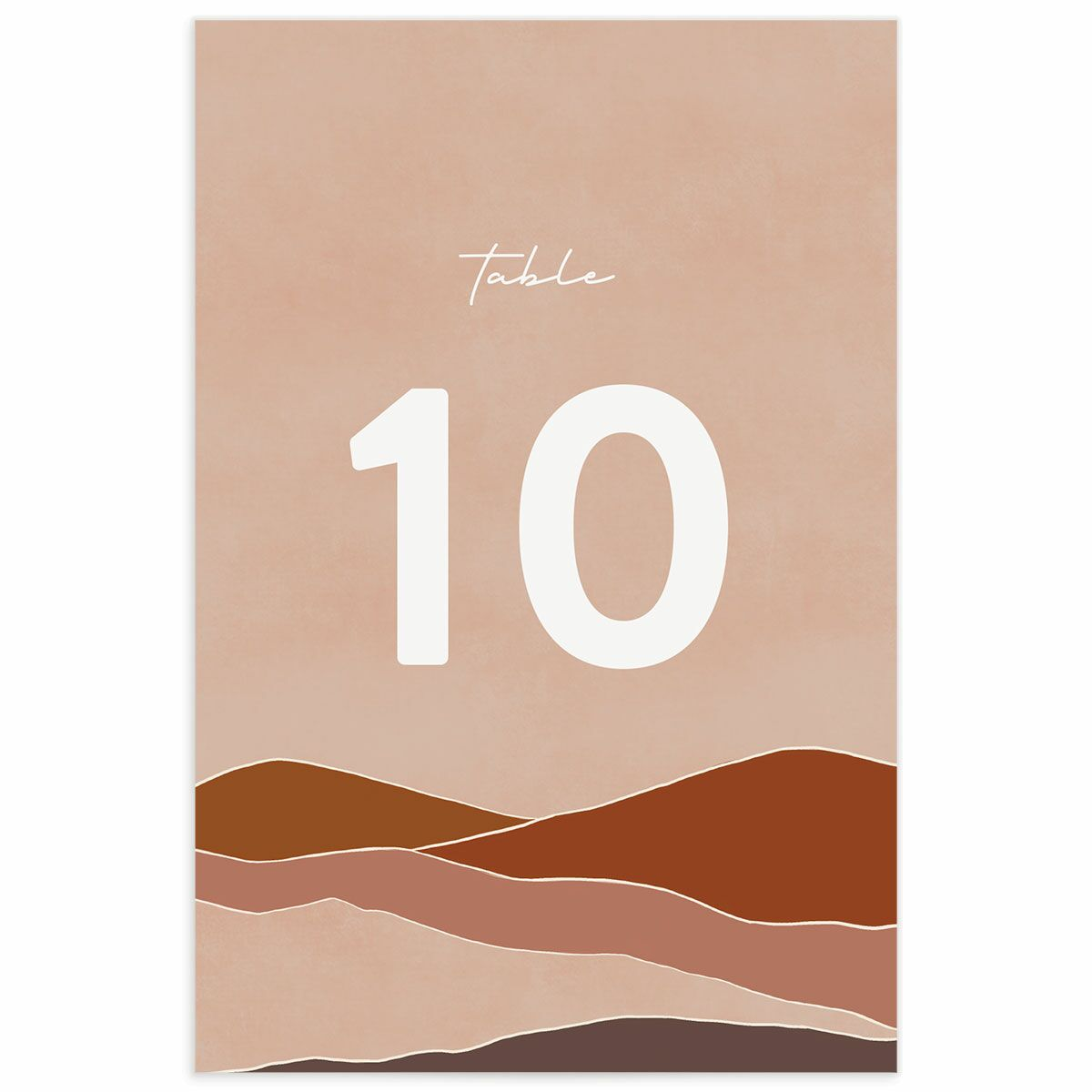 A Wedding Table Number from the Abstract Hills Collection