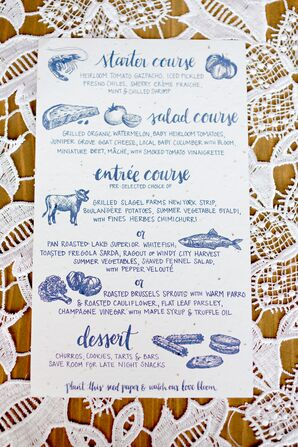 Custom-Printed, Recycled Paper Menu