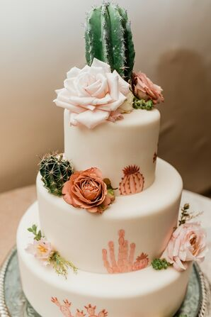 Modern Fondant Wedding Cake with Flowers and Southwestern Accessories