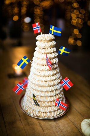 Norwegian Kransekake with Flags