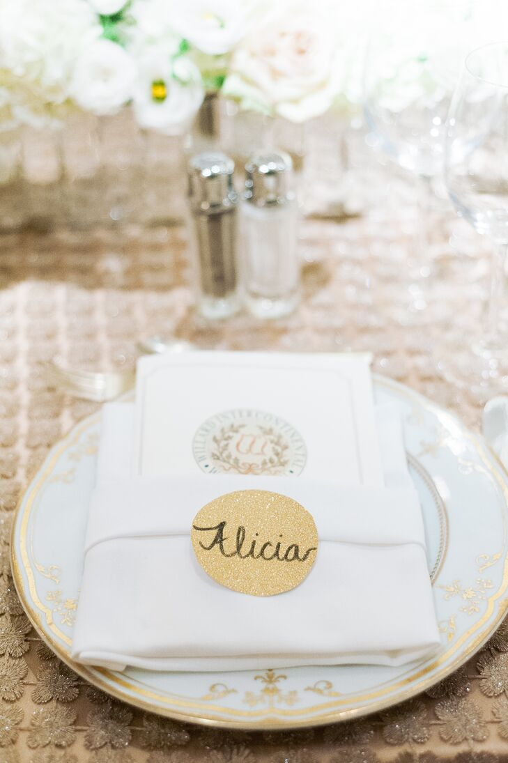 Gold Place Cards With Gold and Ivory Dinnerware