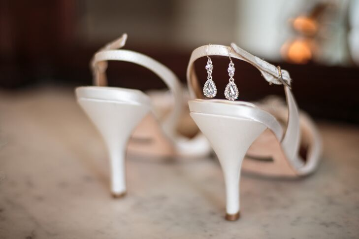 Badgley Mischka Wedding Shoes With Drop Earrings