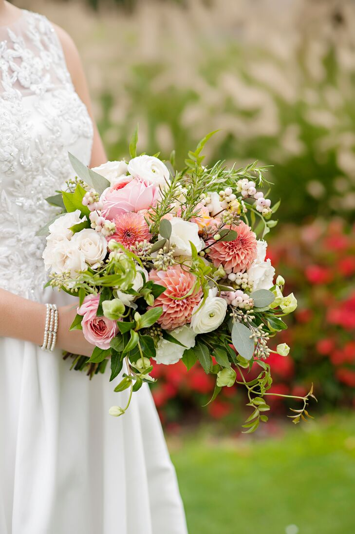 Colorful Bouquet of Pink Dahlias, Ranunculus and Greenery