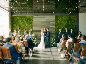 Classic Loft Ceremony with Moss Wall at Moss Denver in Colorado