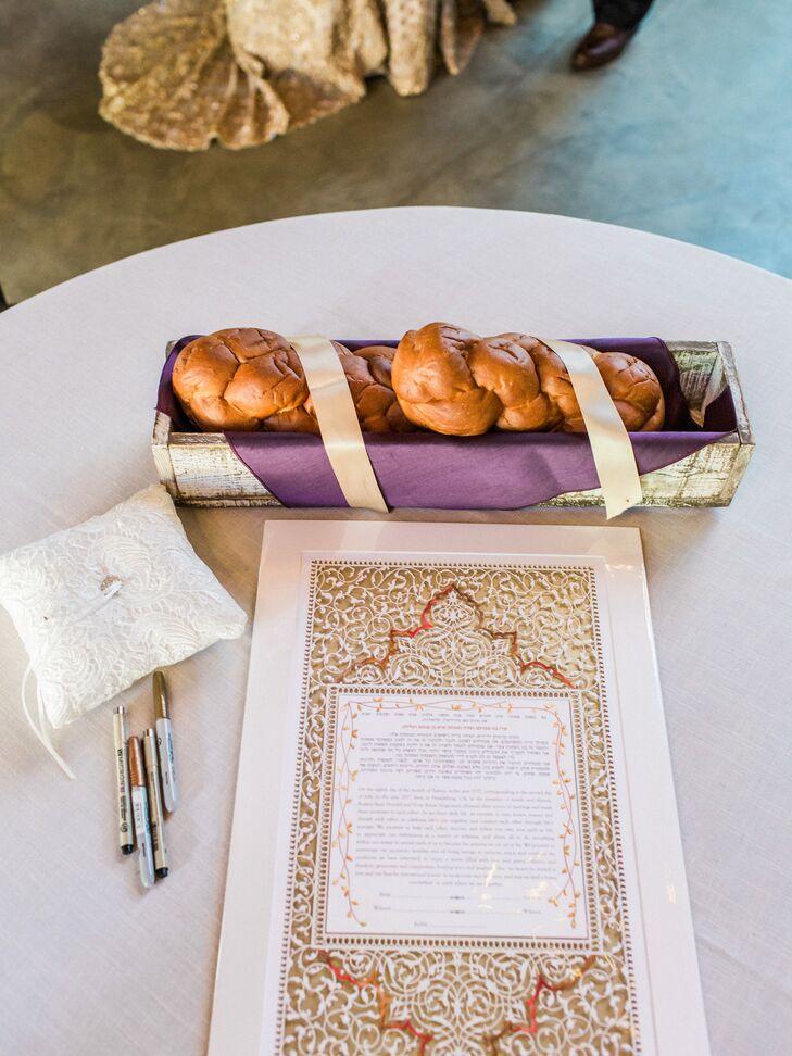 Elegant Jewish Ketubah and Challah