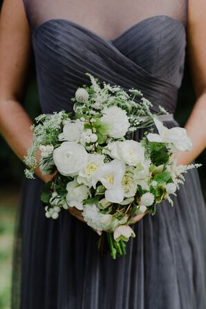 Textured White and Green Bridesmaid Bouquet