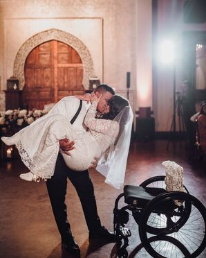 Couple Embraces During First Dance at Madera Estates in Conroe, Texas