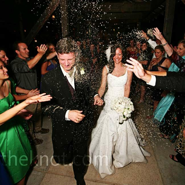 """Guests tossed buds of dried lavender (which """"smelled amazing,"""" says Lindsey) as the couple raced out to their limo."""