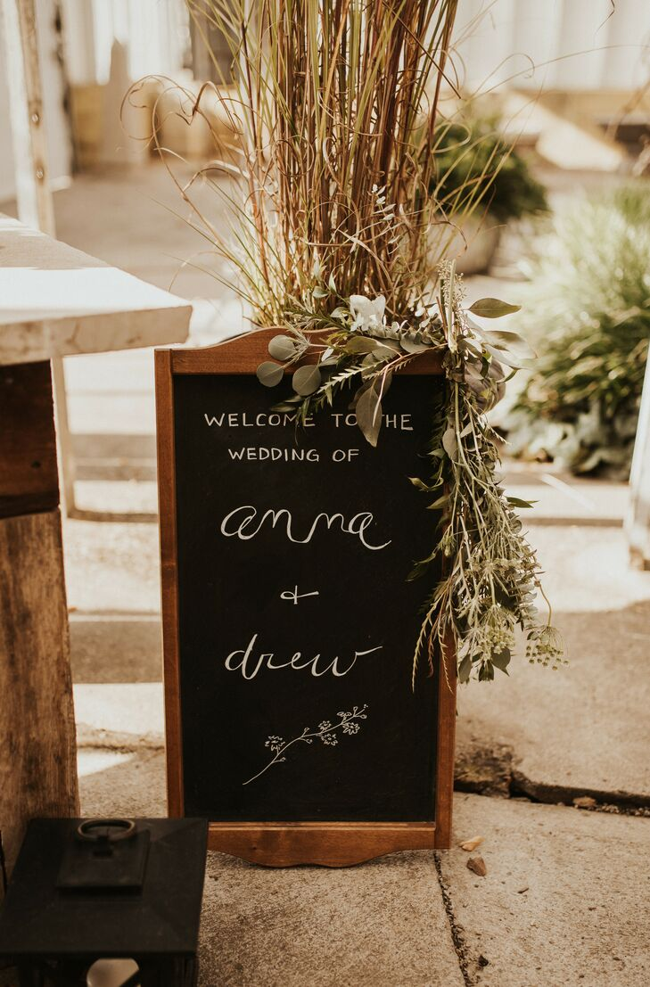 DIY Chalkboard Sign with Bohemian Grasses