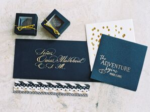 Elegant Black and Gold Cocktail Napkins