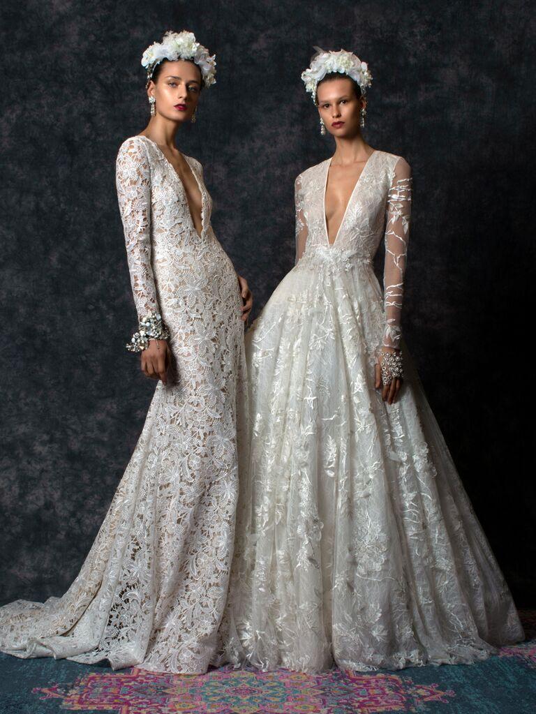 Naeem Khan Spring 2020 Bridal Collection V-neck lace wedding dresses