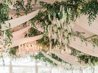 hanging flower reception installation
