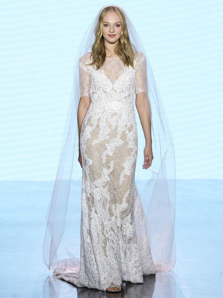 Watters wedding dress short-sleeve lace gown