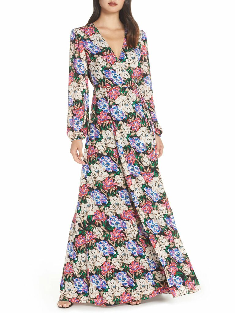 Wayf floral spring bridesmaid dress with long sleeves