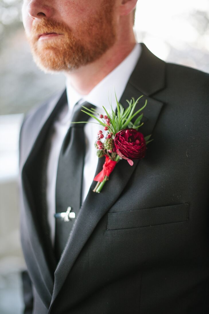 Burgundy Ranunculus and Raspberry Boutonniere
