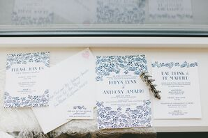 Romantic Blue Vine Invitations