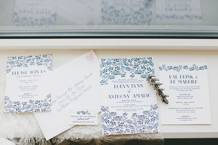 Robyn and Tony's invitation suite perfectly captured the essence of the romantic, vineyard affair to come with a cool blue color, lush vine flourishes and selection of sophisticated fonts.