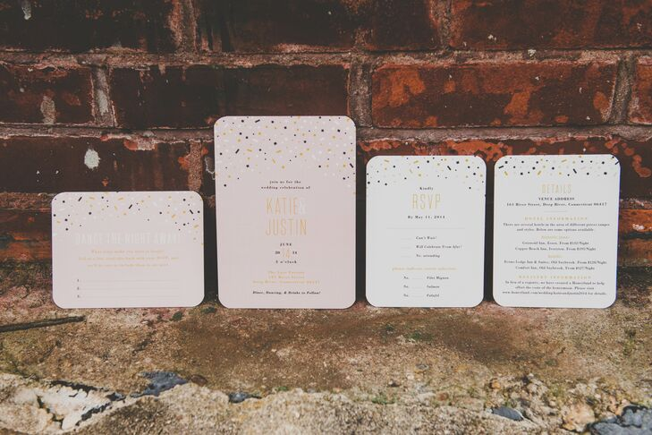 """The pink, white and gold color palette was reflected within the glamorous stationery of the wedding invitations. """"I loved that the stationery looked like a fun party,"""" Katie says. """"It was white or pink, depending on the card, with black, white, gold and pink confetti."""""""