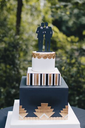 Black, White and Gold Fondant Art Deco Cake