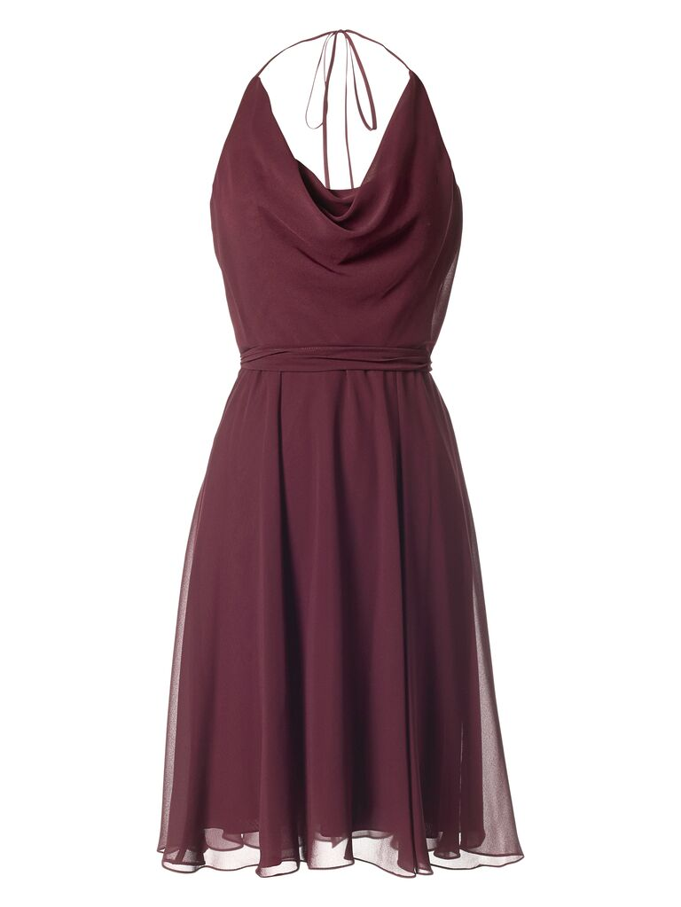 Rouge halter dress for bridesmaid