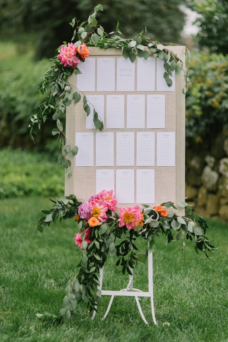 Seating Chart with Eucalyptus and Peony Garlands
