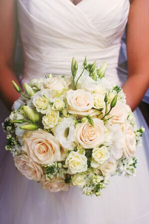 Blush and White Rose Round Bouquet