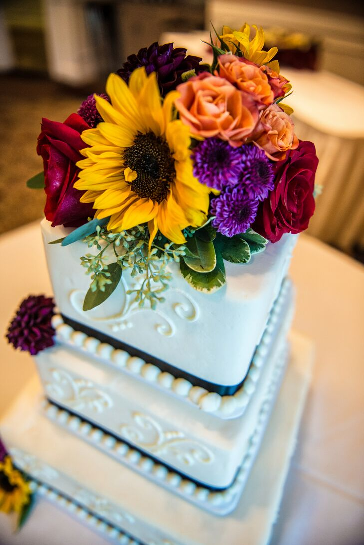 Sunflower-Topped Square Wedding Cake