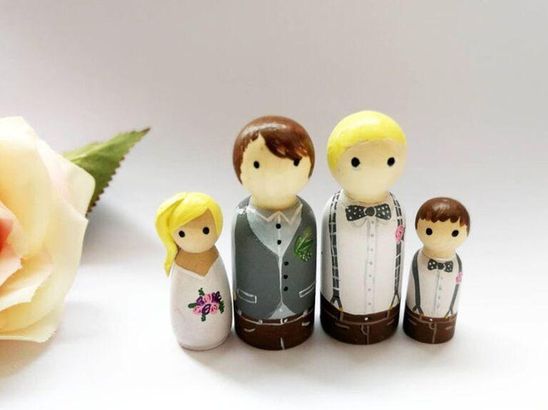 wooden cake topper family