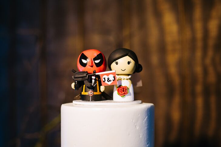 """Jeff is a Marvel fan so I went to Etsy to get a cute custom-made cake topper of Deadpool (a Marvel character) standing with a bride,"" says Jenny."
