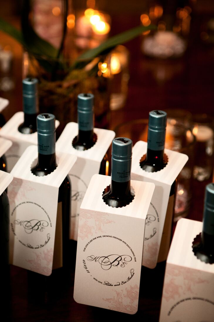 Wine bottles with tags