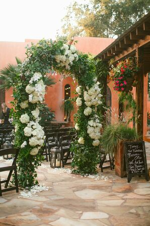 Lush Wedding Arch with Greens and White Flowers