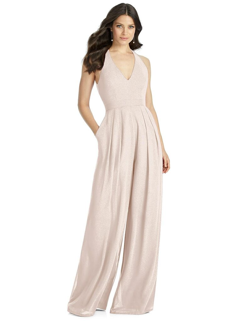 Sparkly blush bridesmaid jumpsuit