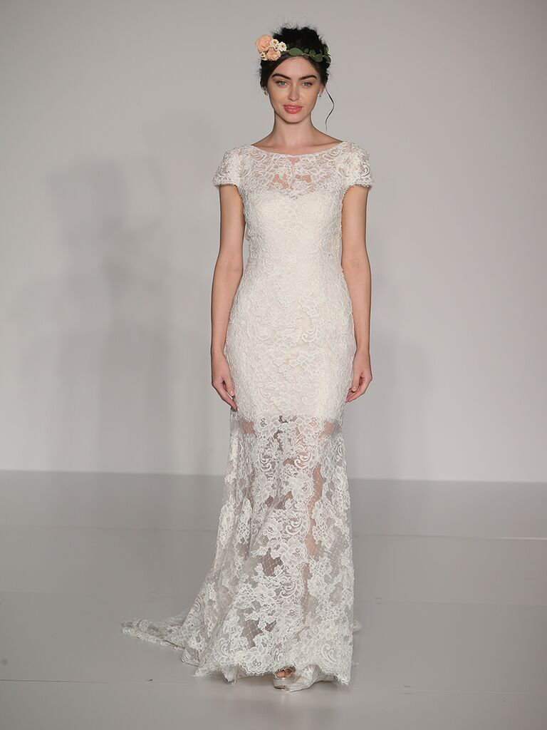 Maggie Sottero Fall 2017 lace boat neck cap sleeve wedding dress with lace illusion skirt