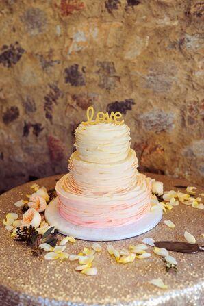 Ruffled Pink Ombre Wedding Cake
