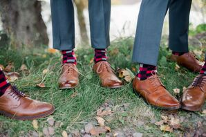 Groomsmen in Brown Wingtips with Colorful Patterned Socks