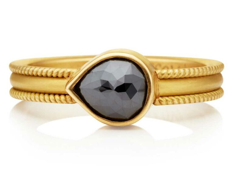 East west teardrop black diamond engagement ring on gold band