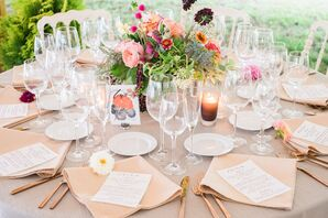 Fresh, Colorful Centerpieces and Neutral Linens